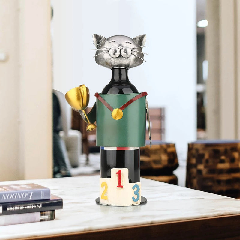 Gifts For Wine Lovers with Metal Cat Statue Ornaments