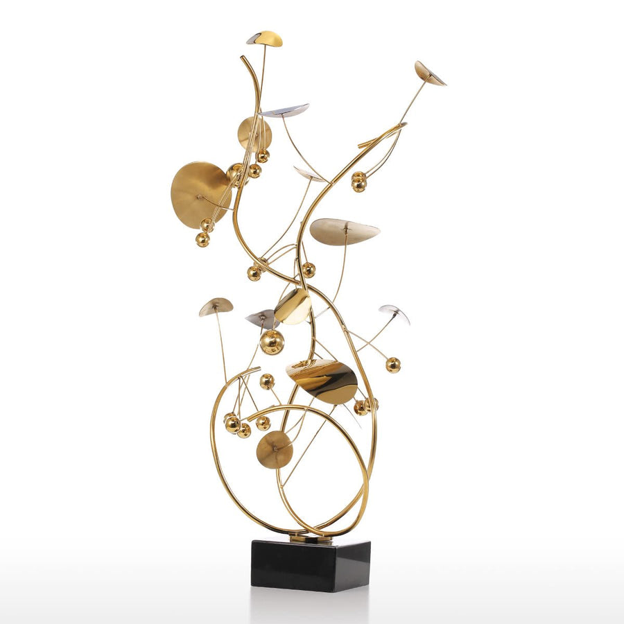 Metal Tabletop Christmas Tree: Metal Christmas Tree Sculpture By Small & Tabletop Gold