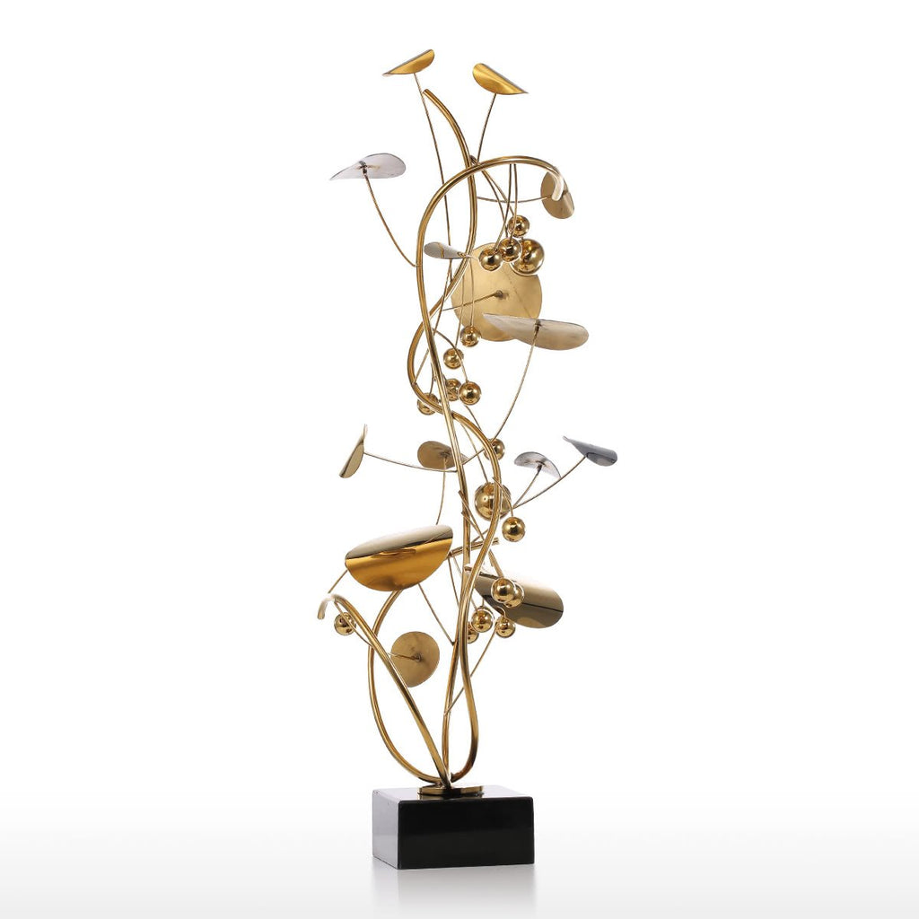 Metal Tabletop Christmas Tree: Gold Christmas Tree And Metal Sculpture With Abstract Art