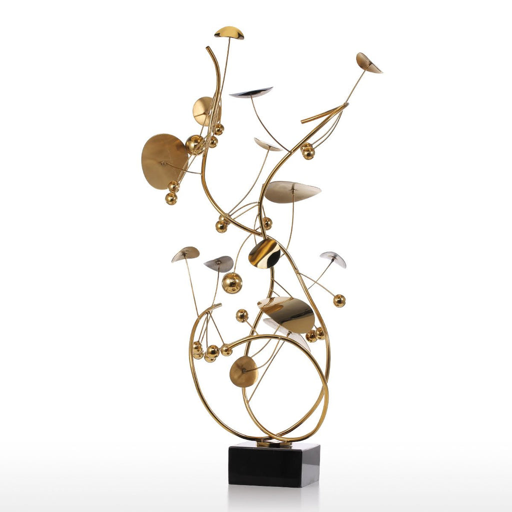 Gold Sculpture and Abstract Art with Modern Furniture Accents with Christmas Decorations for Christmas Tree
