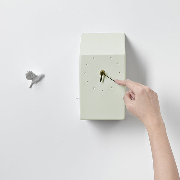 Green Cuckoo Clock with Minimal and Modern Wall Clock