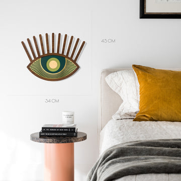 Green Eye and Eyelash Wall Decor with Carved Wood Wall Art