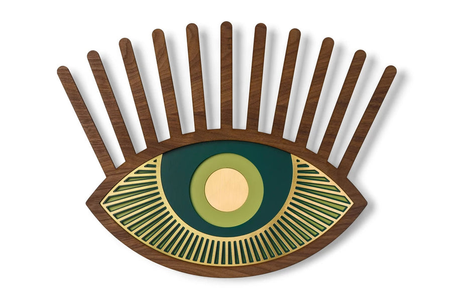 Green Eye with Carved Wooden Eyelash and Eye Wall Art Decor inspired Contact Lenses