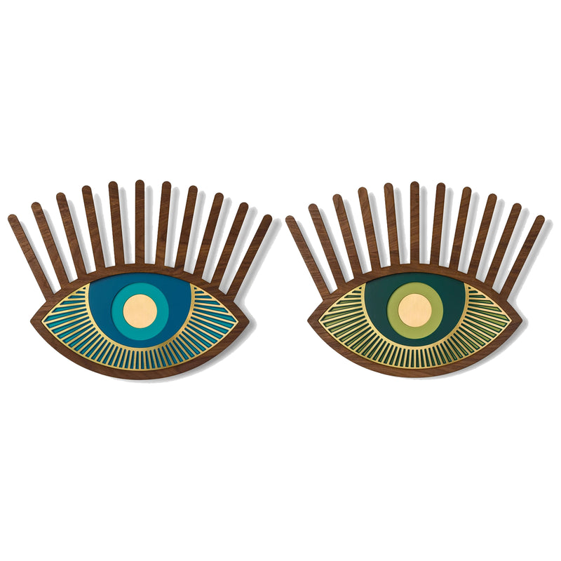 Green and Blue Eyes Wall Decor with Carved Wood Wall Art inspired Contact Lenses