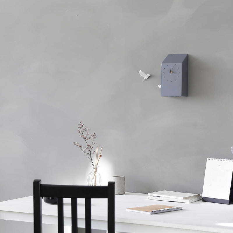 Grey Cuckoo Clock with Minimal and Modern Wall Clock