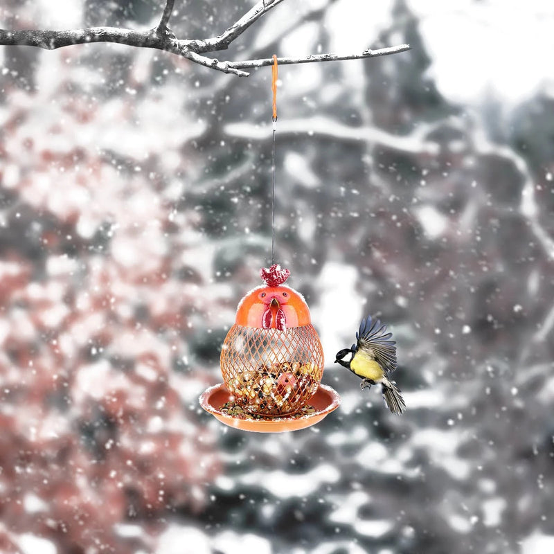 Hanging Bird Feeder with Chicken Figurines