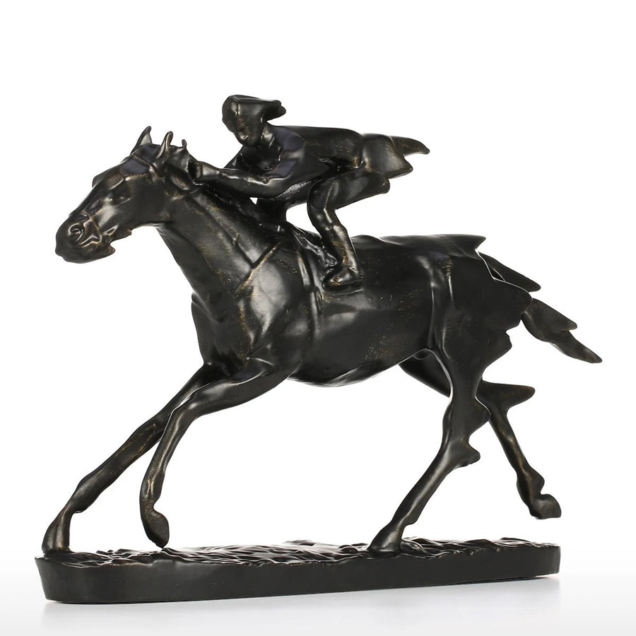 Horse & Rider Horse Statue Figurine Home Decor For Equestrian Lifestyle