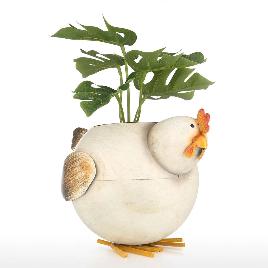 Indoor Plant Pot with Metal Chicken Kitchen Decor
