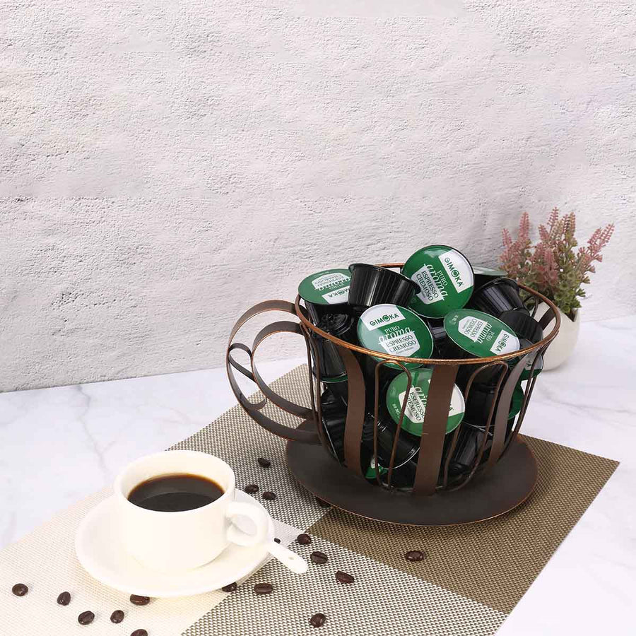 Kitchen Storage Organizer and Kitchen Storage with Metal Basket for Coffee Pod Holder or Fruit Holder