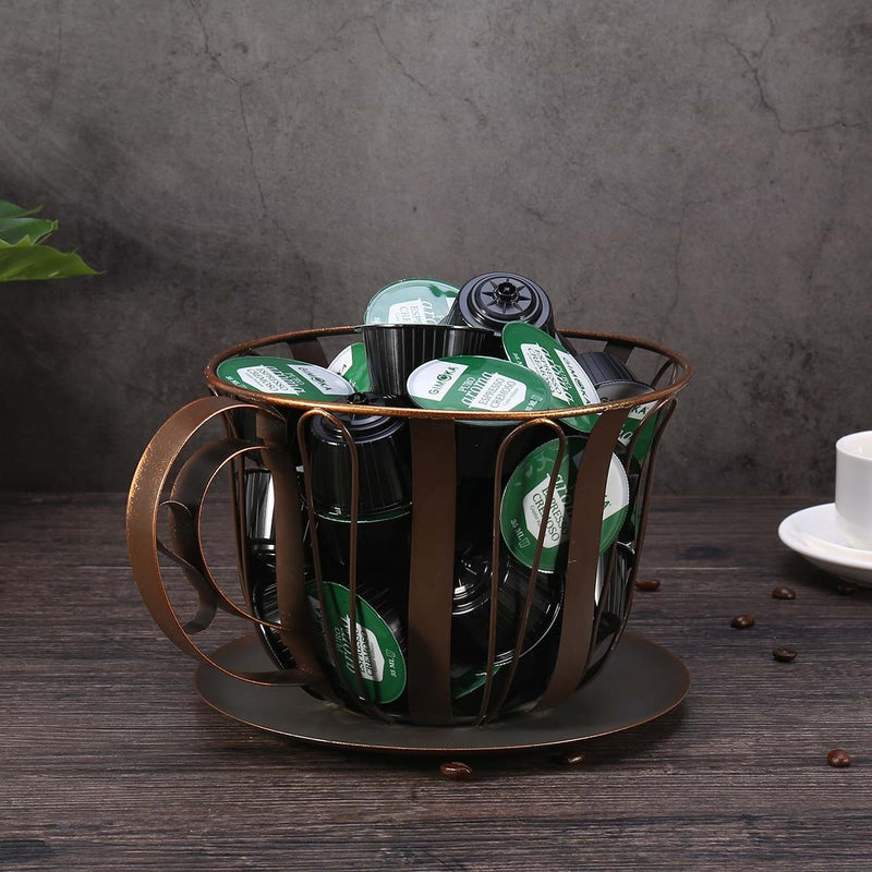 Kitchen Storage Racks or Kitchen Storage Containers with Metal Basket for Cofee Pod and Fruit Holder