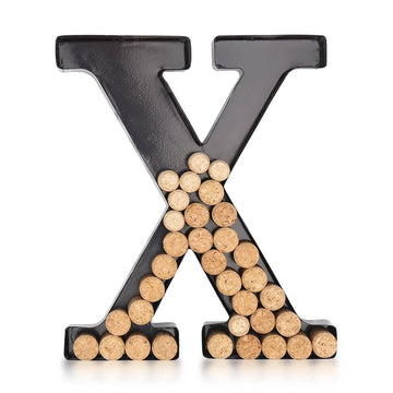 Metal Letters X For Wall with Wine Cork Holder