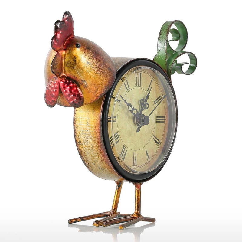 Metal Rooster Decor with Clock