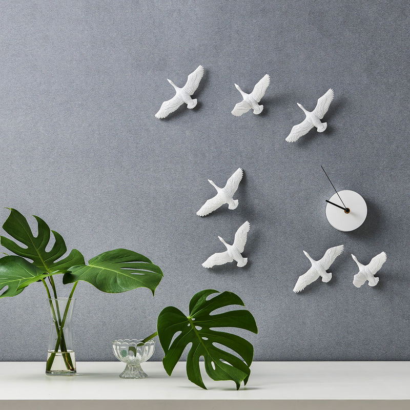 Migratory Birds Minimalist Wall Clock with Resin Sculpture a Philosophical & Modern View of Time