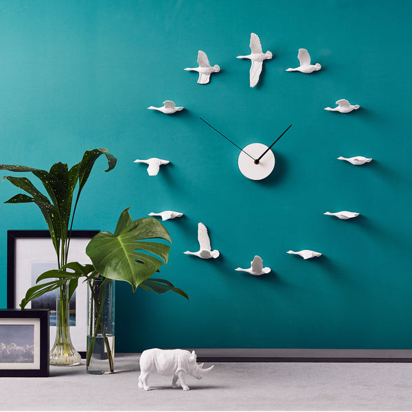Migratory Birds Modern Wall Clock with Resin Sculpture Home Decor a Philosophical & Minimalist View Concept of the Time