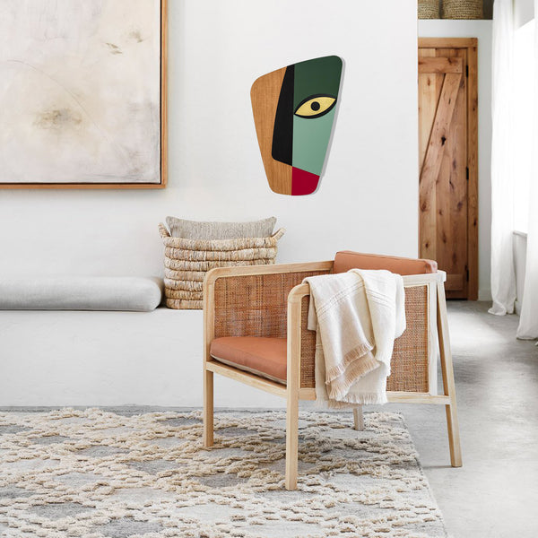 Mint & Olive Green Wall Art on the Woodworking by Picasso Face