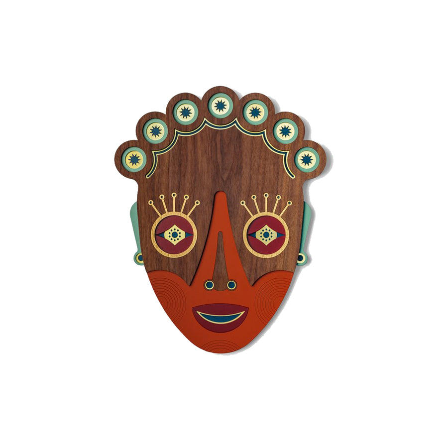 Modern African Wall Mask Face with Wood Wall Art