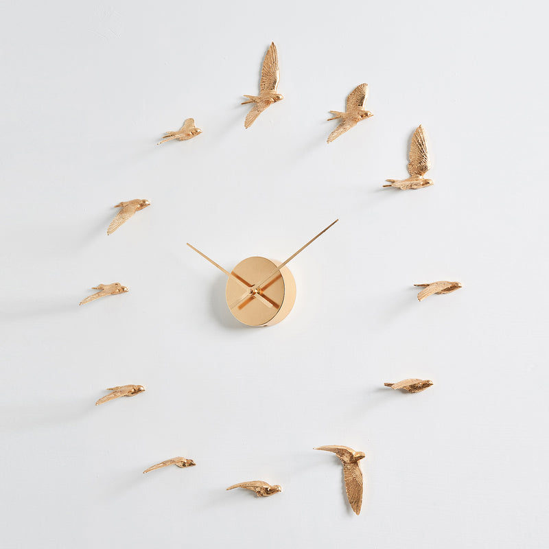 Contemporary and Modern Gold Wall Clock with Swallow Bird Sculpture