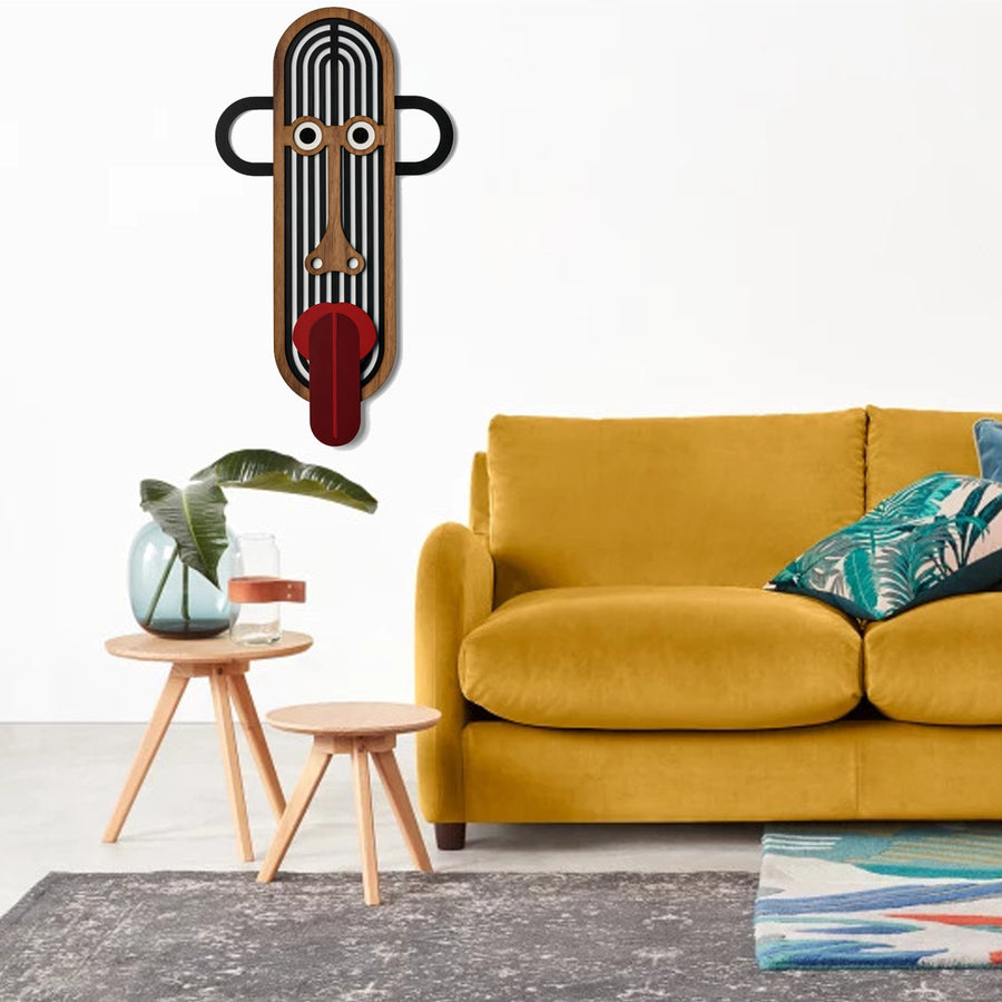 Modern Tribal and African Masks by Colorful Wooden on the Wall Art
