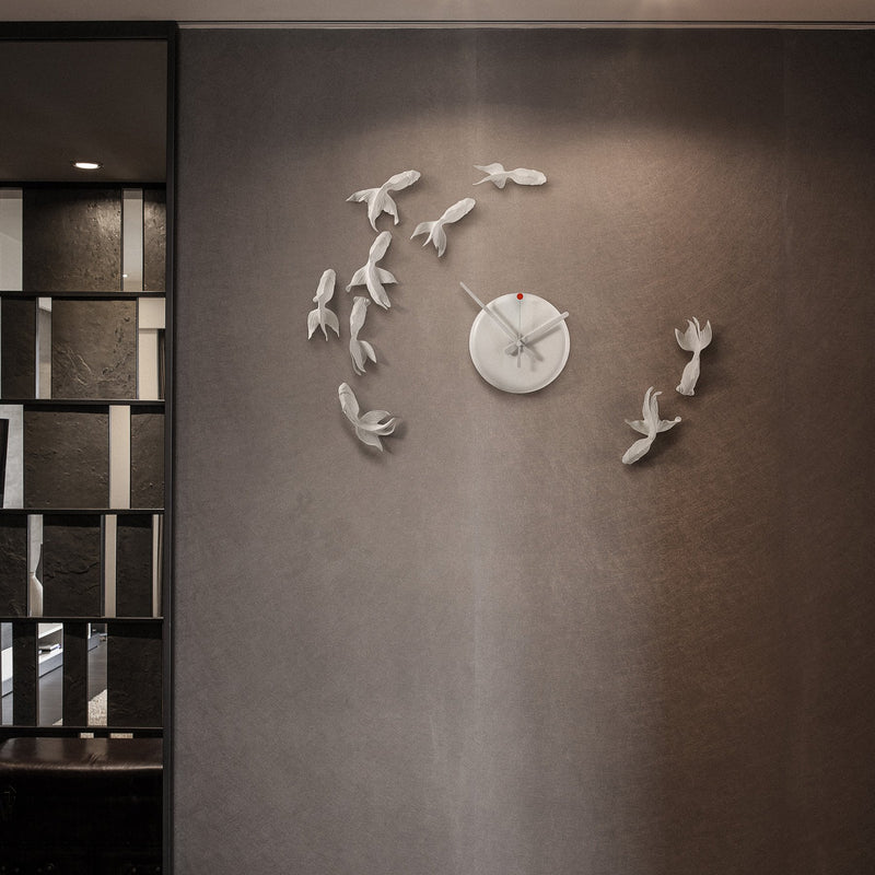 Modern Wall Clock with Fish Sculpture