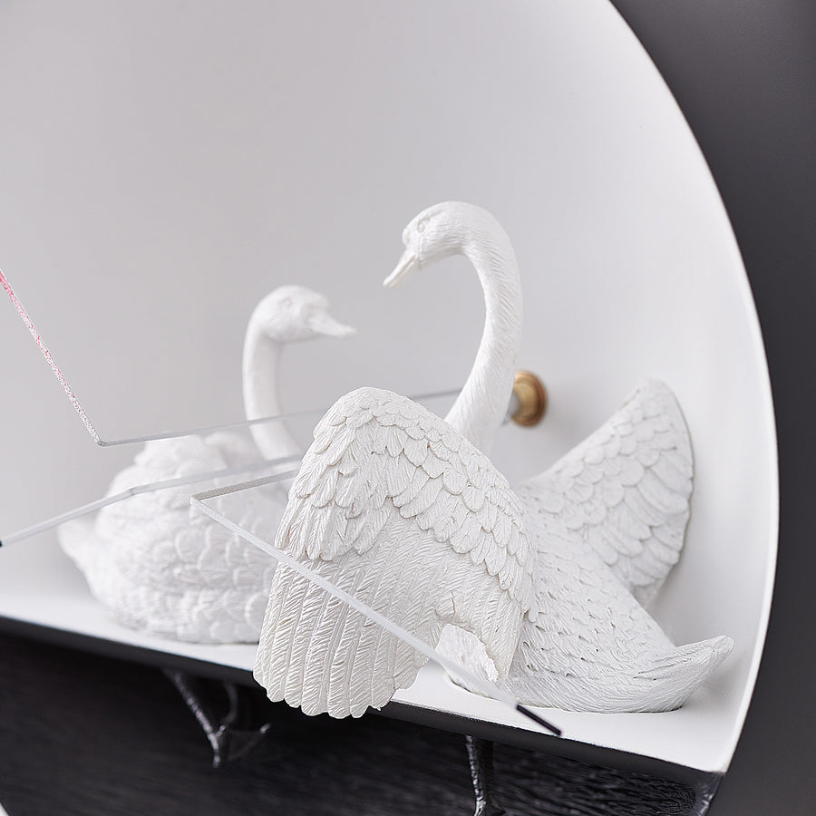 Modern Wall Clock with Swan Figurines to Sculpture Decor