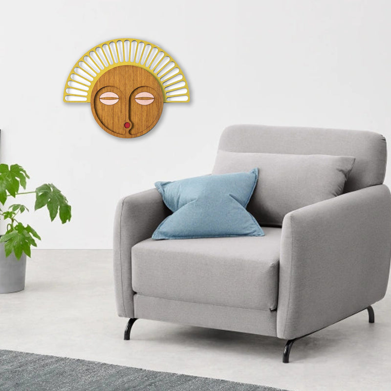 Modern Wood Wall Art with African Wall Mask