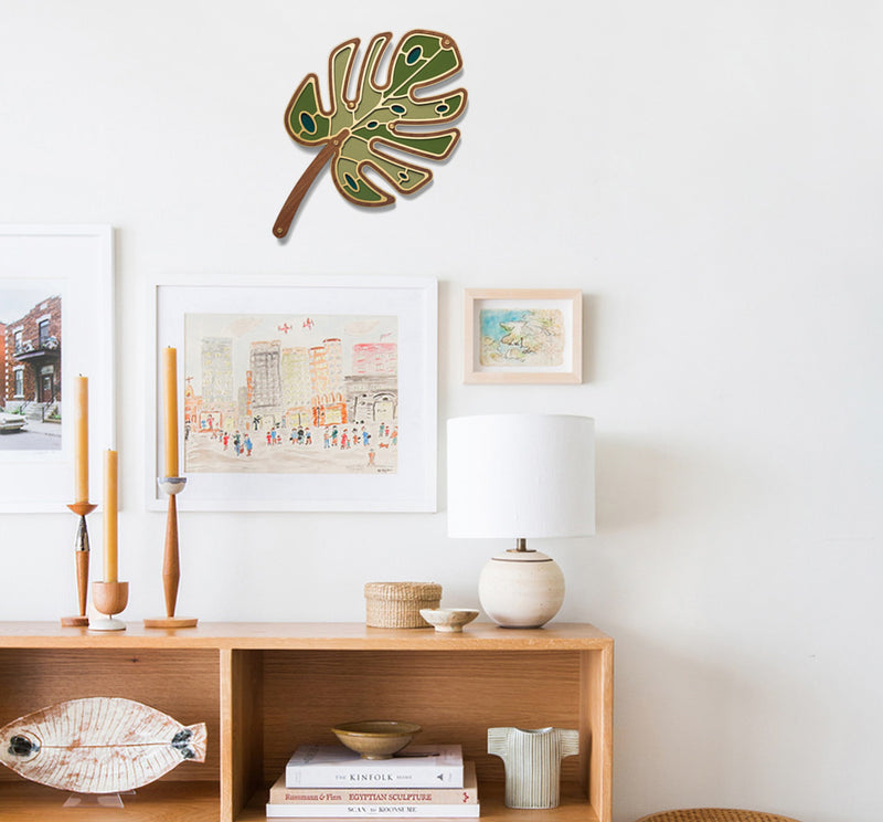 Monstera Wall Art on the Wooden
