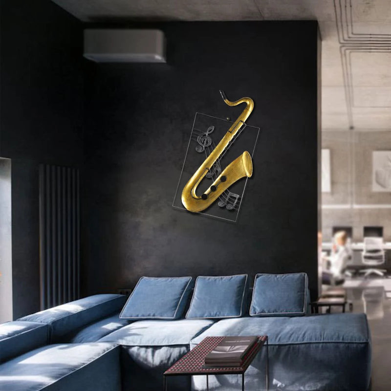 Musical Instrument Wall Art with Saxophone