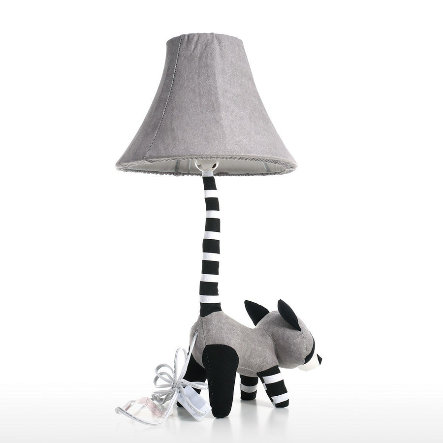 Nursery Table Lamp with Black and White Raccoon for Nursery Decor and Playroom