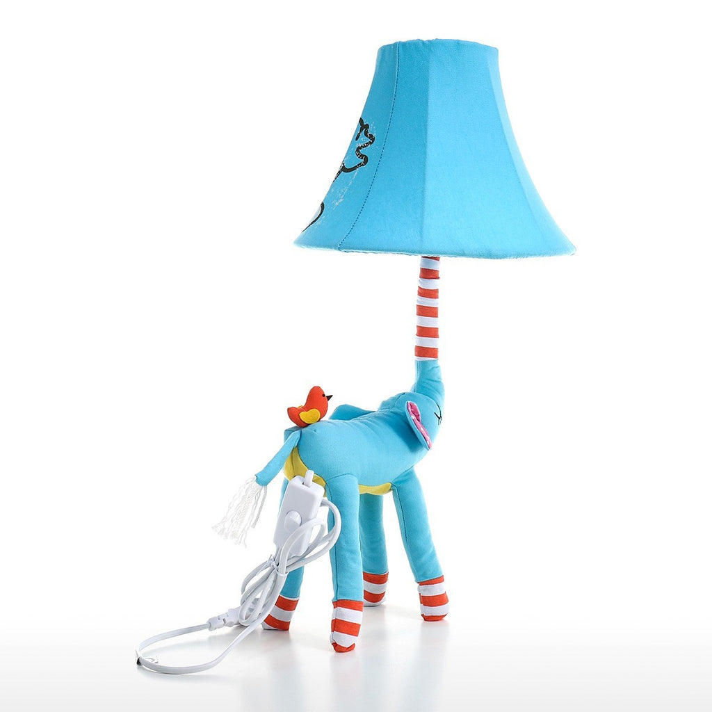 Patchwork and Crochet Detail Blue Table Lamp with Elephant Ornaments and Decor for Nursery Decor
