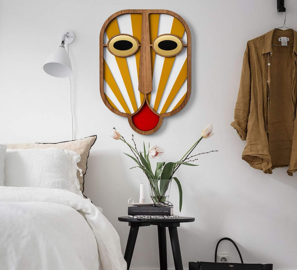 Picasso Face Poster - Wall Hanging Yellow - White