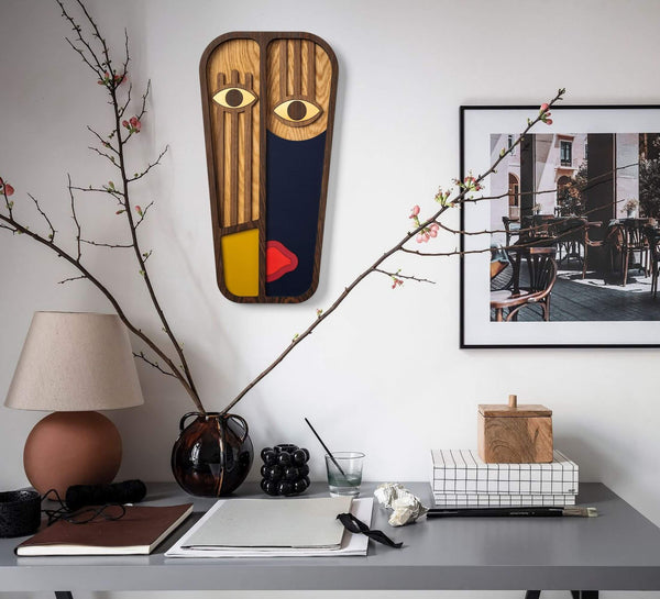 Picasso Face Poster - Wall Hanging Blue - Yellow