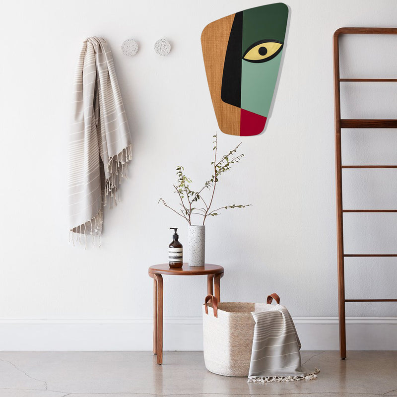 Picasso Abstract Face with Green by Wood Wall Art