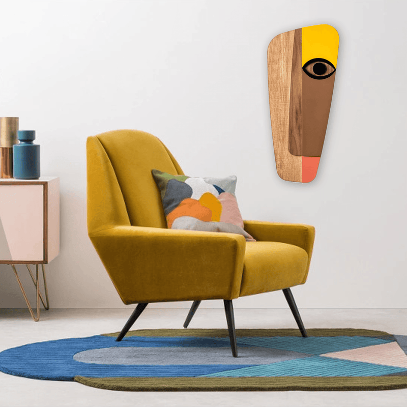 Picasso Face Paintings with Pastel Yellows Wood Wall Art