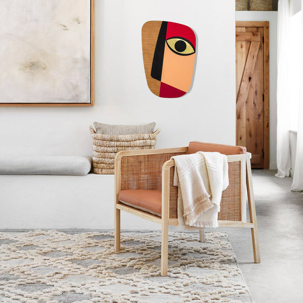 Picasso Face Rose Gold Wall Art by Abstract Wood Face Paintings