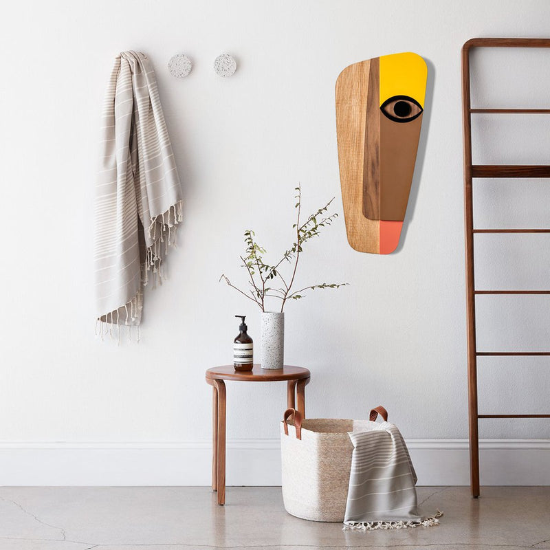 Picasso Face by Wood Yellow Wall Art