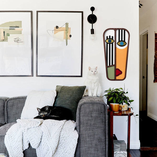 Picasso Face on the Wood: African Masks and Boho Wall Decor