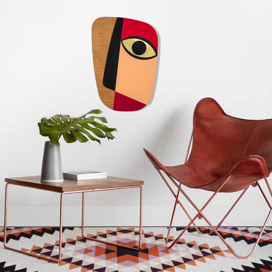 Picasso Face with Pink by Wood Wall Art