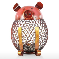 Piggy Bank with Metal Handmade Process Gold and Red Color for Nursery Decor