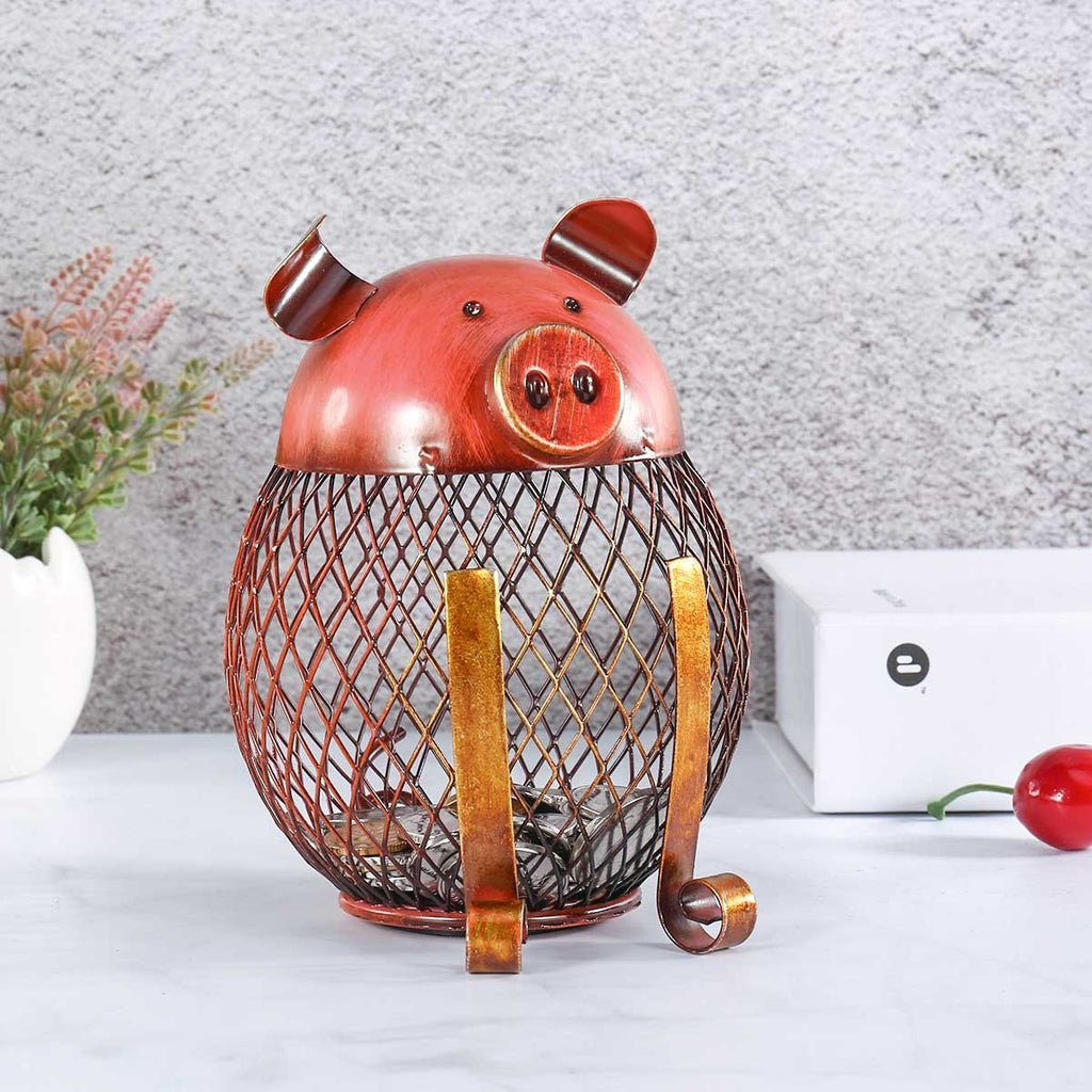 Piggy Bank with Metal Money Box for Kids Room and Nursery Decor or Kitchen