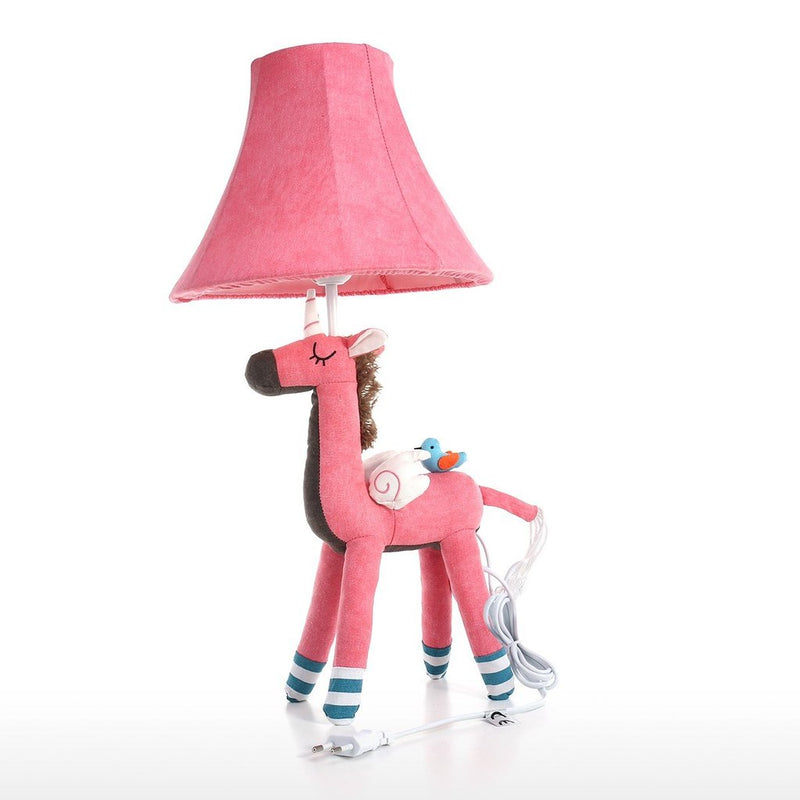 Pink Bedside Lamp with Unicorn Toy