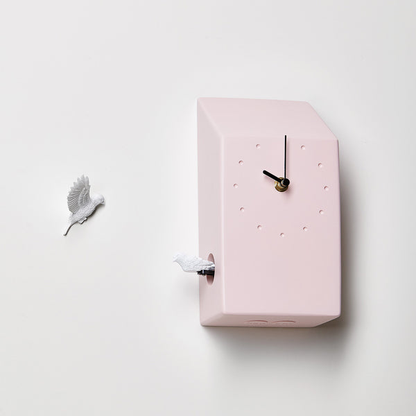 Pink Cuckoo Clock with Minimal and Modern Design Bird Sculpture