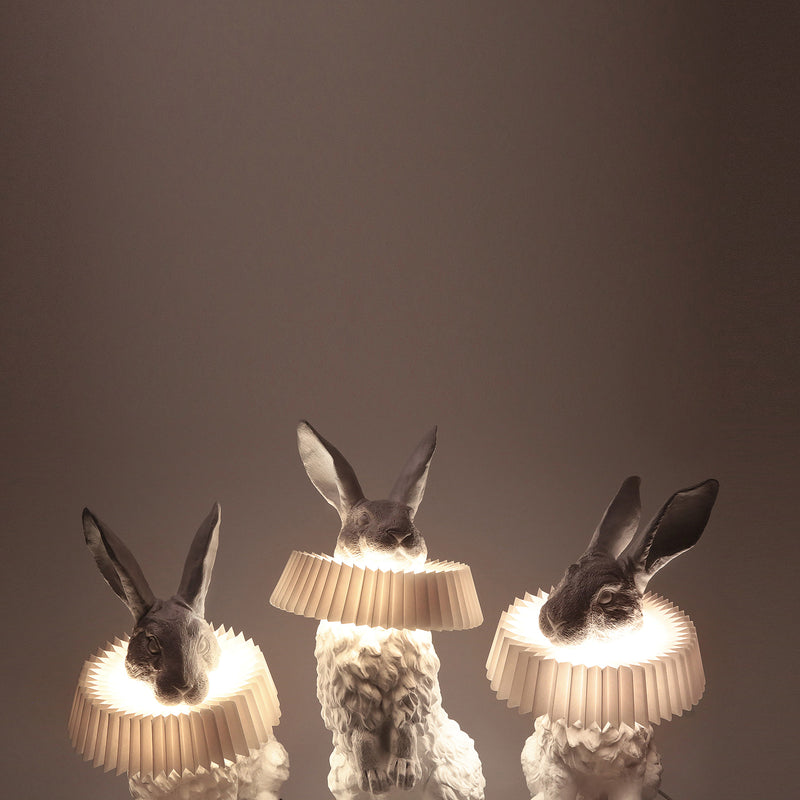 Rabbit Lamp by White Sculpture Decor to Table and Bedside Lamp in the Peace and Naturality