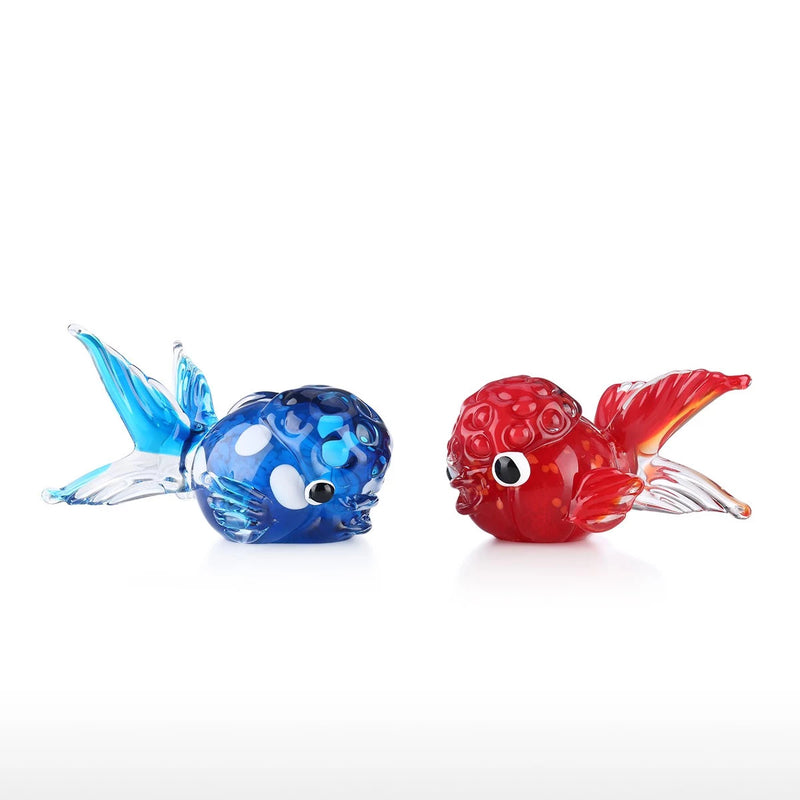 Red and Blue Lionfish with Blown Glass Fish Sculpture