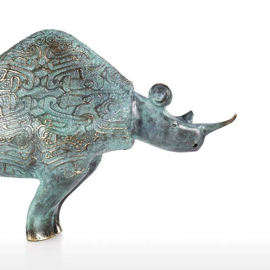 Rhinoceros Gifts and Rhinoceros Ornaments with Bronze Statue and Bronze Sculpture for Home Decor