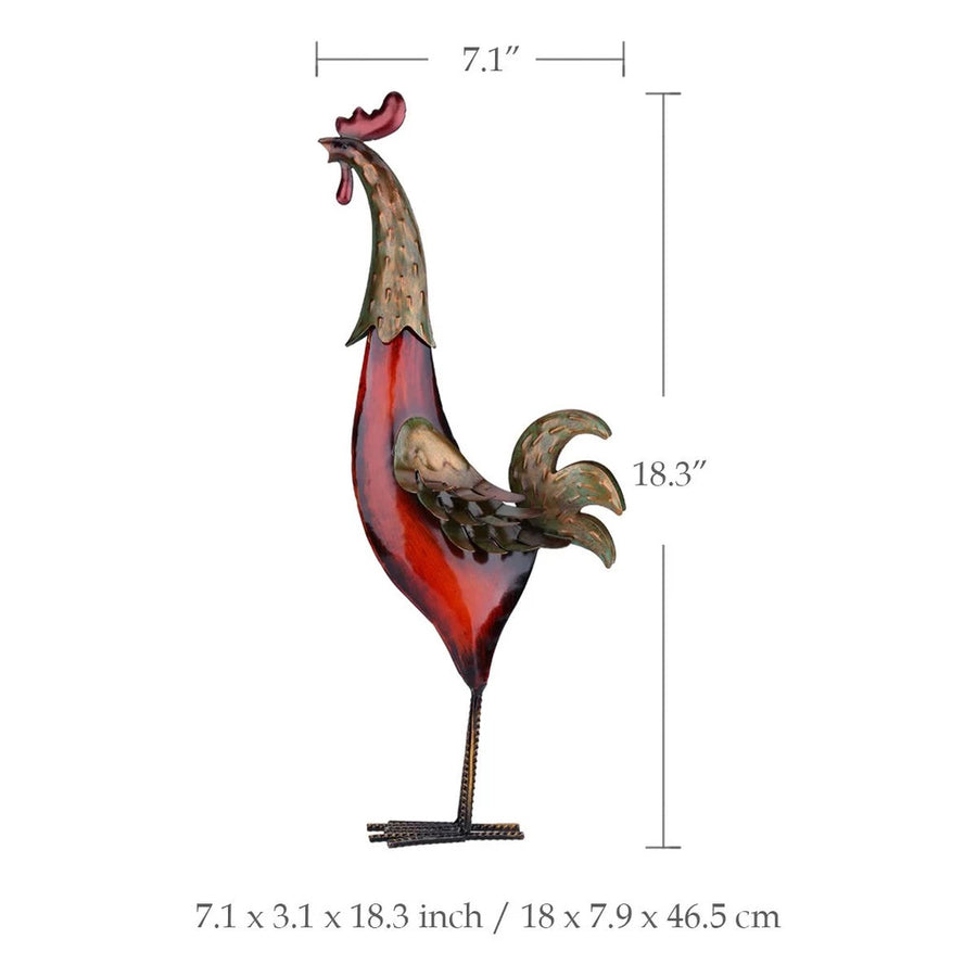 Rooster Decor with Metal Statue Figurines