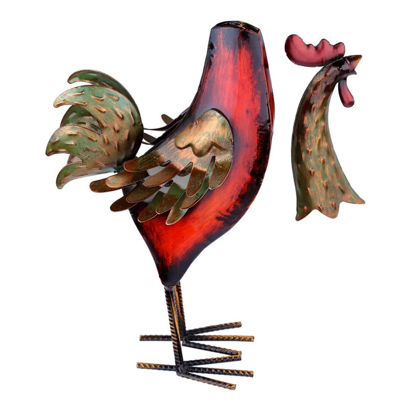 Rooster Figurines with Metal Rooster
