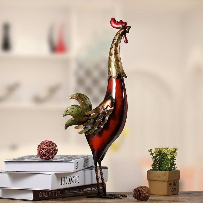 Metal Rooster Statue to Farmhouse and Rustic Kitchen Decor Accessories
