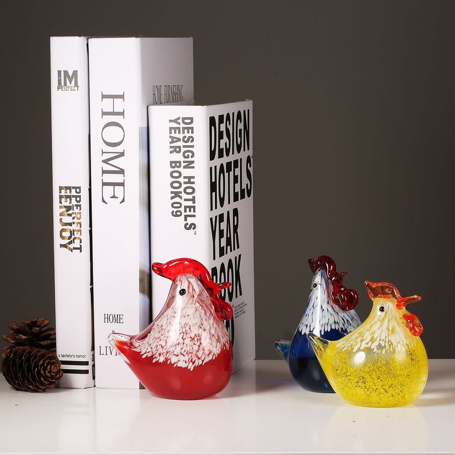 Rooster Kitchen Decor with Glass Sculpture Ornaments