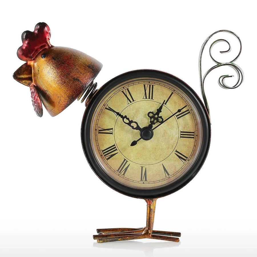 Rooster Kitchen Decor with Metal Statue