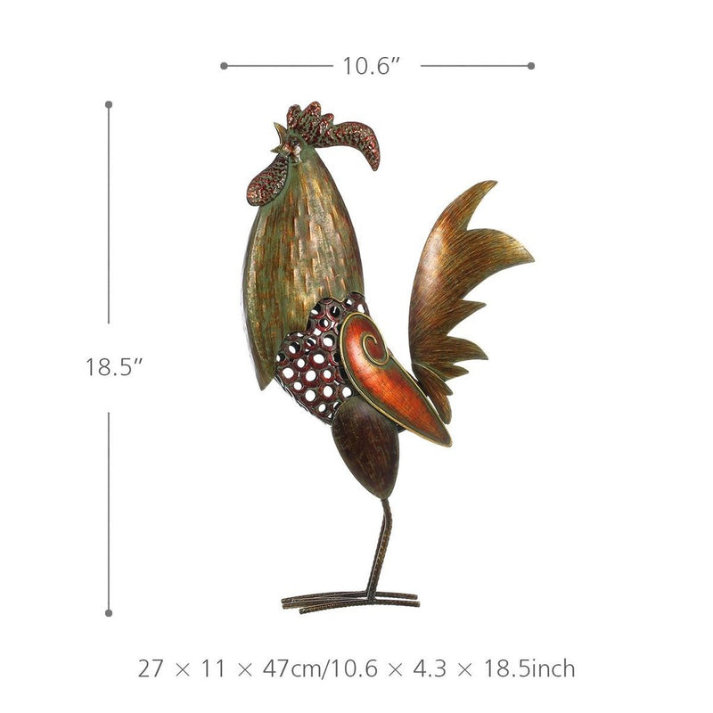 Rooster Statue for Kitchen with Metal